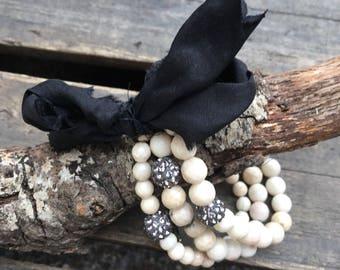 Stacked Beaded Bracelet Boho Style/Beaded Stretch Bracelet with Bling/Shabby Chic/Boho Bracelet/Sari Silk/Fossil Coral Bracelet