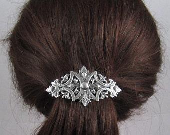 Vintage Victorian French Barrette 80MM- Hair Accessories- Hair clip- Silver Barrette- Filigree Barrette