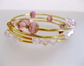 Vintage Pink Crystal Memory Wire Wrap Bracelet | Crystal Jewelry Jewellery | 1980's Ladies Bracelet | Jewelry Gift for Her