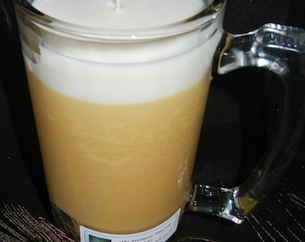 Beer Scented Soy Candle in 28 oz Beer Stein Gold and White