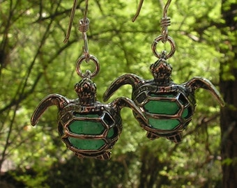 Sea Turtle Earrings Sterling Silver With Aventurine