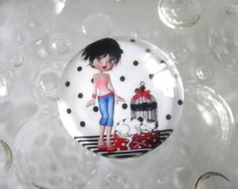 1 cabochon clear 20mm miss holiday theme