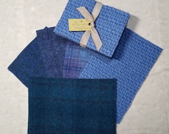 Moody Blues Wool Bundle - Great for wool applique and rug hooking projects!