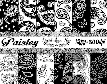 Black and white PAISLEY  Digital Papers Pack - 12pcs 300dpi (paper crafts,card making,scrapbooking) Personal and Commercial use