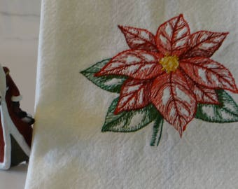 Poinsettia Towel Christmas Towel Kitchen Towel Tea Towel Dish Towel - Discounted