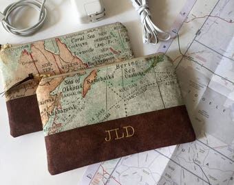 Monogram Travel Pouch, Zipper Pouch, Personalized, Customized, Vintage Map Bag, Zipper Bag, Charger Bag, Charger Pouch, Electronics Storage