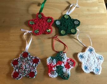 Handmade Crocheted Christmas Star Ornaments- Set of 5