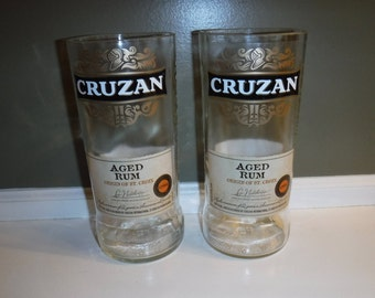 Cruzan Aged Rum Bottle cut drinking glasses, set of two