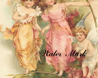 Instant digital downloa.Fairies in garden with cherub.Darling.Make greeting cards, gift tags,price tags,use in decoupage, collage,scrapbooks