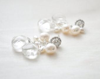 Bridal Earrings, Crystal Quartz Earrings, Freshwater Pearl Wedding Earrings, Bridal Jewelry