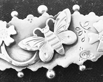 English Sterling Silver Butterfly & Flower Brooch  Hallmarked