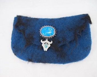 Felted-clutch bag-blue merino wool-wet felted sheep locks-bead embroidered-glass cab-Steer head charm-snap closure-blue felted purse