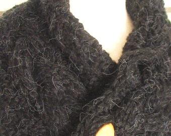 Scarf Cowl Neck Warmer Handknit Black Dark Grey Cabled SALE
