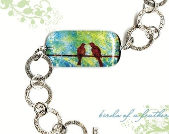 Birds of a  Feather Bracelet - Geoform Riverstone Reversible Glass Art