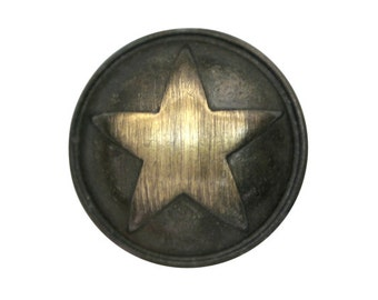 2 Polished Star 1 inch ( 25 mm ) Metal Buttons Brass Color