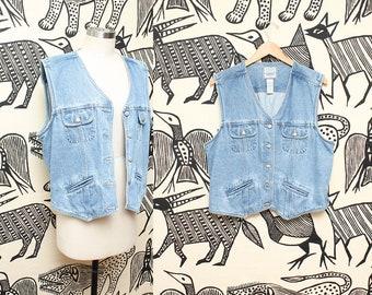 Blue Jean Denim Vest // 90s Grunge Short Sleeveless Light Blue Button Down Vest Size XL