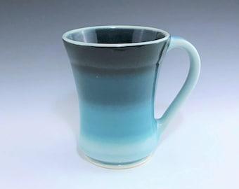 Teal Ceramic Mug, Ceramic Coffee Mug, Large Ceramic Mug, Teal Porcelain Mug, Ceramic Coffee Cup, Large Tea Mug, Wheel Thrown Pottery Mug