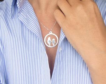 Benutzerdefinierte Full Body Silhouette Halskette aus Ihren Fotos, in Sterling Silber oder Gold gefüllt, Geschwister Halskette, Halskette Familie verfügbar