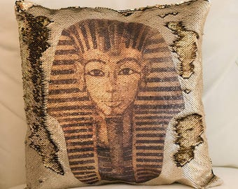 Sequin pillow Tutankhamun / Pharaoh Tutankhamun sequin pillow / Mermaid pillow Pharaoh