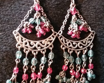 Pink & Blue  Chandelier Earrings