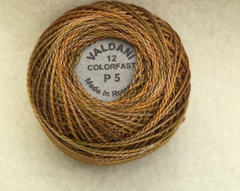 Valdani P5 Size 12 Pearl Cotton Variegated Hand Dyed Thread, Color Tarnished Gold