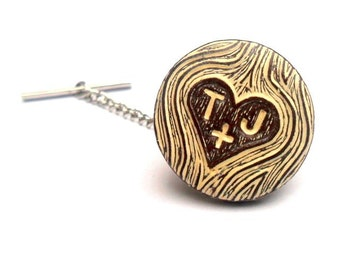 Personalized Tie Tack, Custom Tie Tack, Carved Initials, Faux Bois Woodgrain Tie Tack, Woodland Wedding Tie Tack,Groom Gift