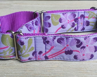 """1.5"""" Wide Martingale Collar, Flowers, Violet"""