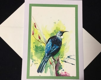 The Tui (New Zealand native bird) - a fine art greeting card.