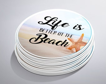 Life Is Better At The Beach Stickers, Beach Stickers, Summer Stickers, Ocean, Starfish, Beach Quote, Beach Lover