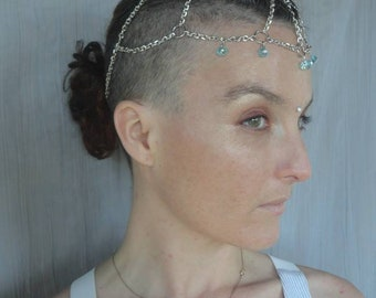 Headchains Head Chain - Silver chain with  Blue Swarovski Crystal faceted beads Hair Jewelry Goddess Festival Princess Tribal Cosplay Fairy