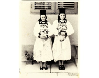 Vintage 1970s Black and White Photograph Ladies in Traditional Dress National Costume Eastern Europe Romania Folk Embroidery Old Photo 335
