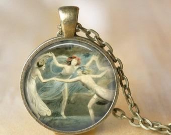 Women Dancing Art Pendant Necklace Jewerly Glass Pendant Art Necklace Handmade Dance Jewerly (206)