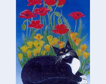Longhaired Black and White cat and poppies, print from my original painting