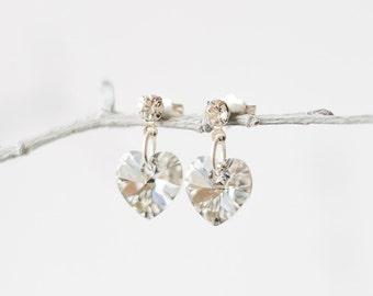 Crystal Stud Earrings with Swarovski Crystal Heart