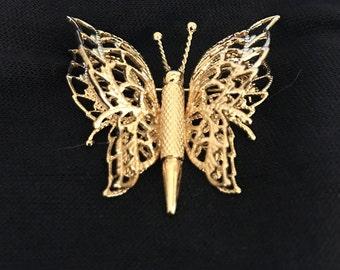 Vintage Gold Tone Monet Butterfly Brooch