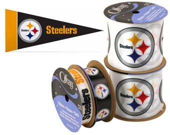 NFL Pittsburgh Steelers Ribbon, 4-pack of Ribbon & Mini Pennant, Licensed NFL Offray Ribbon
