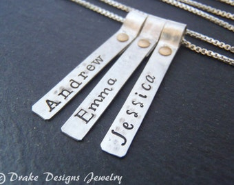 Hammered custom name mom necklace kids names sterling silver mothers necklace personalized childrens names