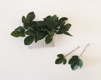Ivy Leaf Hair Comb | Handmade Bridal Headpiece | Nature Inspired Branch and Leaf Wedding Hair Accessories | Rustic Woodland