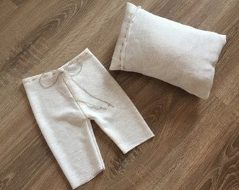 NEW! Newborn pillow and pants set Baby Photography prop posing Streatch pants Baby boy girl pillow RTS Ivory photo prop set