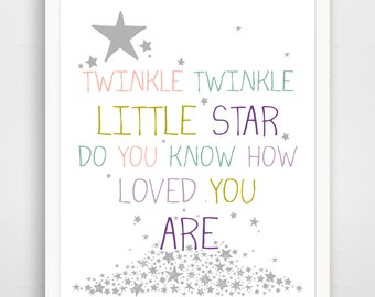 Twinkle twinkle little star do you know how loved you are, purple nursery wall art print