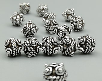 2 Sterling Silver 8mm Dotted Beads | 925 Sterling Silver Beads | BP60