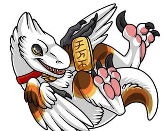 "Maneki ""Lucky"" Raptor Sticker! Various Colors!"