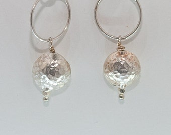 Sterling Silver Hammered Bead and Large Circle Chain Dangle Earrings