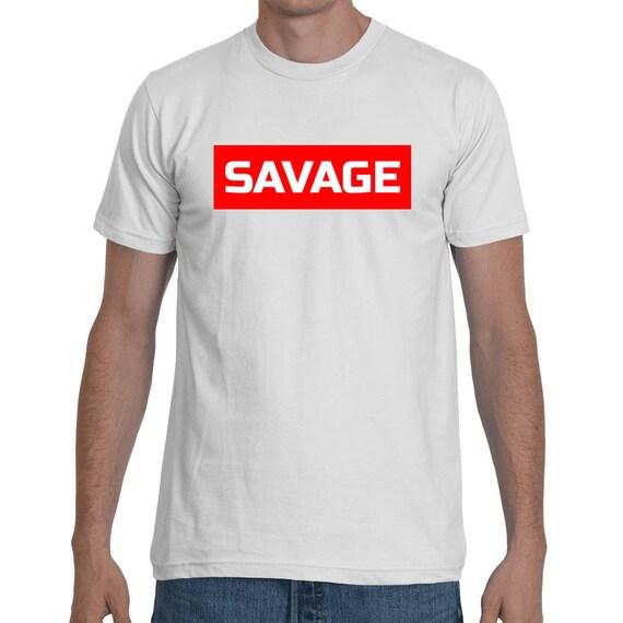 Savage 21 Savage Rockstar Red Rectangle Style inspired Hip Hop Tee World Star Trap Shirt Short-Sleeve trending rap Unisex T-Shirt