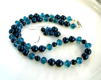 Magnetic Clap Peacock Blue Pearl Necklace Set with Matching Earrings Swarovski Blue Pearl Necklace (18.5 Inches)