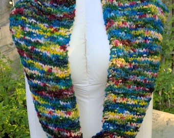 Hand Knit, Double Loop Textured Cowl. Superwash Wool, Miss Babs mega skein yarn, Brightly Colored