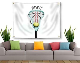 Girls Room Decor-Lacrosse Tapestry-Girls Lacrosse-Tapestry with Grommets-Custom Wall Decor-Lacrosse Wall Decor-Custom Sports Decor
