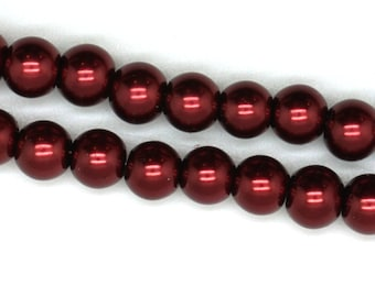 Burgundy Glass Faux Pearl Strands - Select Size: 6mm