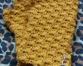 Handmade crochet fingerless gloves, alpaca and wool blend. Yellow.