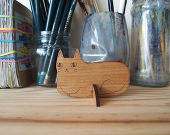 Wooden cat desk ornament - Desk pet - Laser cut cat - wooden cat - Desk cat - Cat gifts - I like Cats - cat standee - ornament